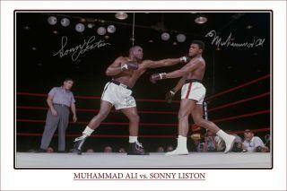 Muhammad Ali Sonny Liston Large Autograph Print Heavyweight Champions
