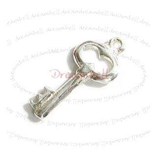 1x Bright Sterling Silver Little Key Dangle Charm