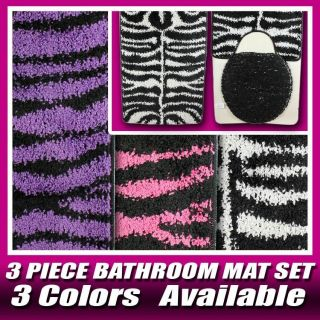 Colors 3 PC New Zebra Bathroom Rug U Shape Mat Toilet Lid Cover Set