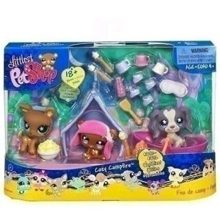 Littlest Pet Shop Cozy Campfire DEER BEAR SPANIEL DOG Retired 670 671