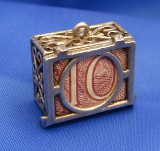 Vintage English Sterling Silver 10 Shilling Note Mad Money Box Charm