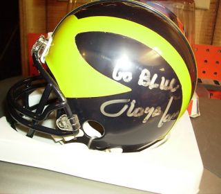Lloyd Carr Michigan Wolverines Signed Mini Helmet