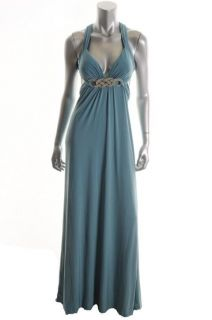 LM Collection NEW Blue Embellished Jersey Cross Strap Formal Dress 2