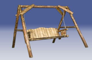 Rustic Outdoor Log Swings Furniture Deck Swing Set
