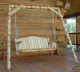 Log Porch Swing A Frame Swing Set for Deck or Lawn