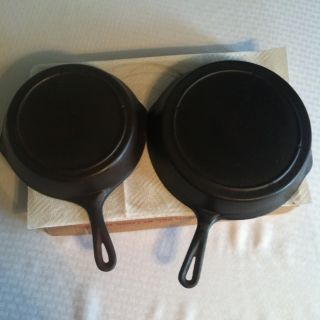 Vintage Lodge Cast Iron Skillet One 6 and One 8