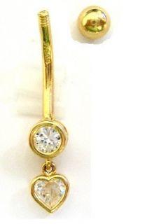 Gold Dangle Heart Belly Button Navel Ring Body Art 14 Gauge