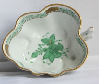 Herend Green Bouquet leaf shaped candy nut dish w handle 680 4 in by 3