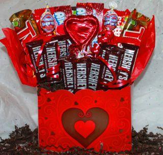 Valentines Candy Bouquet Gift Basket chocolate hersheys twix skittles