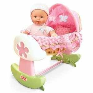 Fisher Price Little Mommy Pink Butterfly Rocking Bassinet Travel Bed