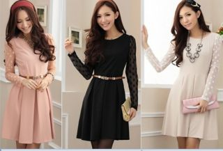 Autumn Winter New Style Wave Point Gauze Long Sleeve Dress