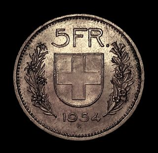 1954 B Switzerland 5 Francs Silver Coin Silver Crown Mint UNC