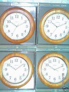 Lone Oak 12 Round Wall Clock w Cracked Wood Frame
