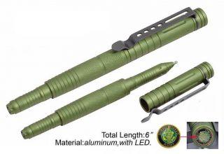 Green Aluminum Tactical Ink Pen Bright LED Light