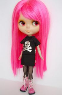 Neon Pink Long Straight Hair Wig Bangs Blythe Doll 12 Fits American