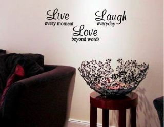 Live Laugh Love Every Moment Vinyl Wall Quote Decal Modern Home Decor