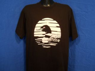 Vintage 90s Loon Canada White Black Puffy Paint Looney Pond T Shirt XL