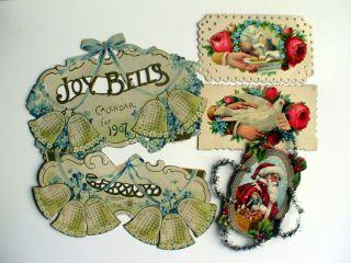 Vintage Die Cut Victorian Christmas Cards   Davidson Brothers 1907