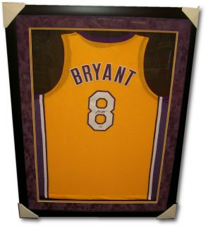 Kobe Bryant Autographed Los Angeles Lakers Jersey Gold Style Framed 8