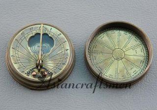 Great Round Brass Sundial Compass Lord Kelvin Nautical Sundial Brass