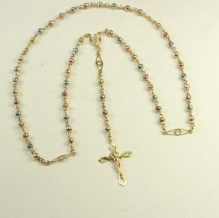 14k White Rose and Yellow Gold Rosary