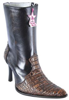 Croc Belly Los Altos Copper Leather Dress Womens Cowboy Boots Western