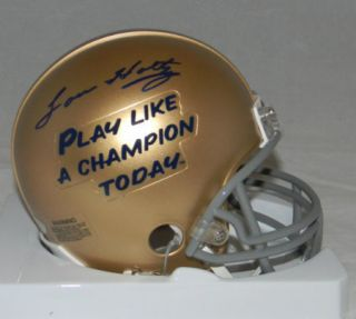 LOU HOLTZ SIGNED AUTO NOTRE DAME PLAY LIKE A CHAMPION TODAY MINI