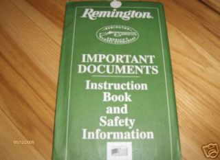 Remington Model 870 Shotgun Gun Owners Manual