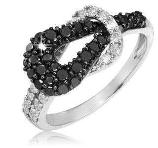 60ct Black White Diamond Sterling Silver Love Knot Ring