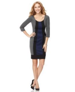 London Times NEW Gray Colorblock Scoop Neck Long Sleeve Casual Dress