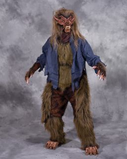 Werewolf Lone Wolf Adult Halloween Costume Brown Mask Gloves Chest