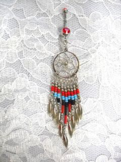 RED   TURQUOISE BLUE & BLACK 9 TASSLE DREAMCATCHER BELLY BUTTON RING