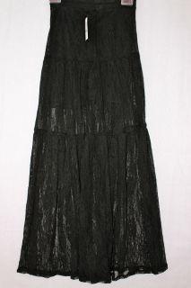 Kirra Full Length Black Lace Sheer Bottom Long Maxi Skirt or Swim