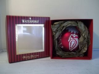 Waterford Holiday Heirlooms Red Tree Glass Ball Christmas Ornament