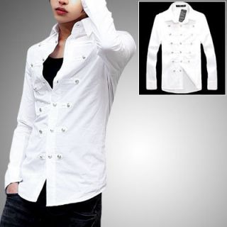 Men Slim Fit White Long Sleeve Point Collar Button Up Shirt S