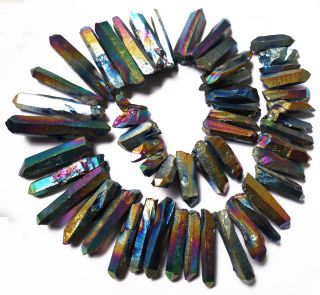 Titanium Rainbow Long Quartz Point Loose Beads 25 55mm 16 Inch
