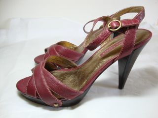 LOVELY PEOPLE Red Leather Strappy Platform Heels Sandals Shoes Womens