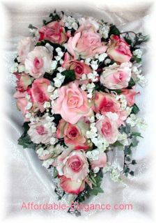 Roses Cascade Bridal Brides Bouquet Silk Wedding Flowers Lily