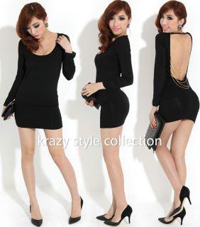 Womens Low Cut Backless Chains Cross Mini Club Dresses 1 Size US Small