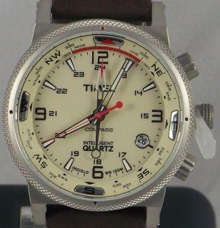 T2N725 TIMEX E COMPASS Preminum IQ INDIGLO BROWN LEATHER Strap SS Case