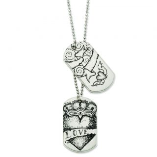 Chisel® Stainless Steel Loyalty Symbol Tattoo Design Dog Tag 24