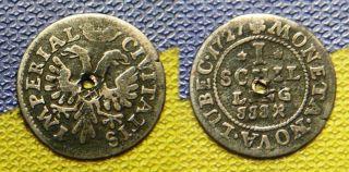 RARE COIN shilling 1727 old GERMANY LUBEC moneta nova imperia antique