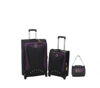 Lucas Ballistic 2 Piece Spinner Luggage Set Purple Duffel