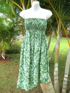 Green Floral Strapless Diagonal Ruffle Hem Luau Dress