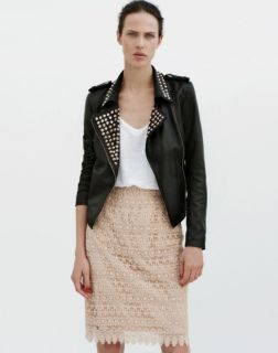 NEW ZARA Style Punk Gold Studded Black Leather Motorcycle Biker Bomber