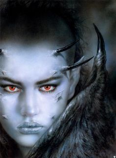 RARE Out of Print Luis Royo Gothic Fantasy Blue Thorn Demon Textile