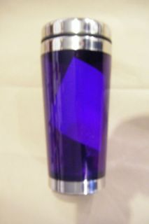 New 16 oz Travel Coffee Mug Insulated Drink Cup Purple Clear Slide Lid