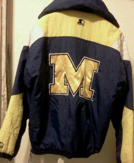 Vtg. 90s STARTER Michigan Wolverines jacket/coat adult/mens large GUC