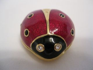 Lauder 2004 enameled crystal Lucky Ladybug solid perfume compact EALC