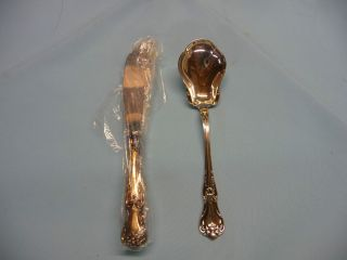 Lunt Memory Lane Antique Butter Knife Still in Plastic and Sugar Spoon